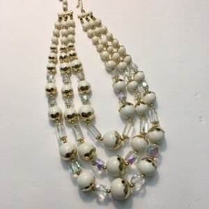 Vintage white & gold bead Crystal Necklace